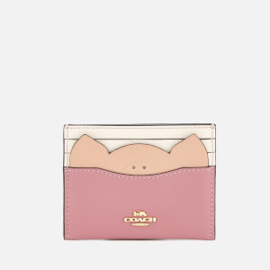 Coach Women's Pig Flat Card Case - Rose