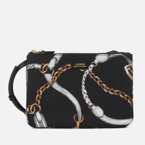 Lauren Ralph Lauren Women's Chadwick Double Zip Medium Cross Body Bag - Black Sig Belting Print