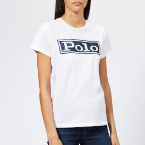 Polo Ralph Lauren Women's Sequin Polo T-Shirt - White