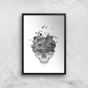Balazs Solti Skulls and Flowers Art Print