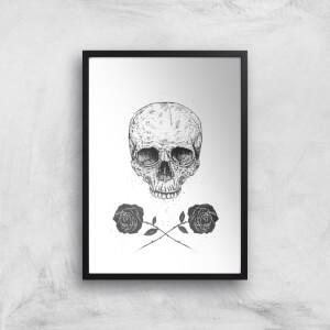 Balazs Solti Skull and Roses Art Print