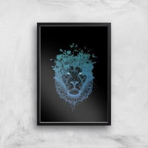 Balazs Solti Lion and Butterflies Art Print