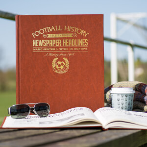 Manchester United Europe Newspaper Book - Brown Leatherette