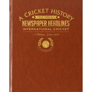 International Cricket Newspaper Book - Brown Leatherette