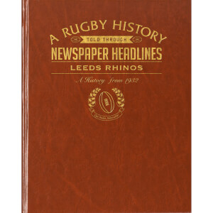 Leeds Rhinos Rugby Newspaper Book - Brown Leatherette
