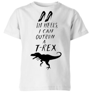 Rock On Ruby In Heels I Can Outrun A T-Rex Kids' T-Shirt - White