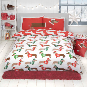 Xmas Sausage Dog Duvet Cover Set - Multi