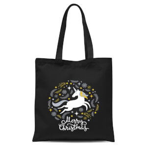 Unicorn Christmas Tote Bag - Black