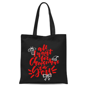 All I Want for Christmas Tote Bag - Black