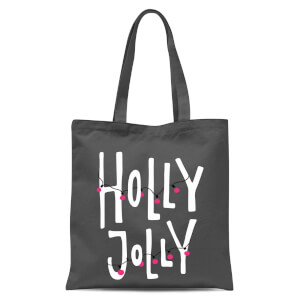 Holly Jolly Tote Bag - Grey