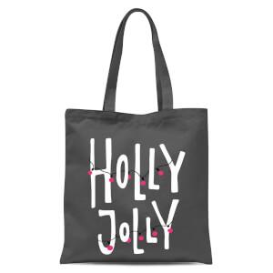 Holly Jolly Tote Bag - Grey