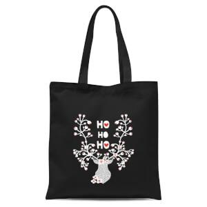 Ho Ho Ho Reindeer Tote Bag - Black