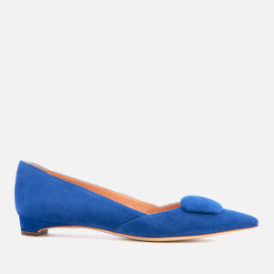Rupert Sanderson Women's New Aga Suede Pointed Flats - Lapis