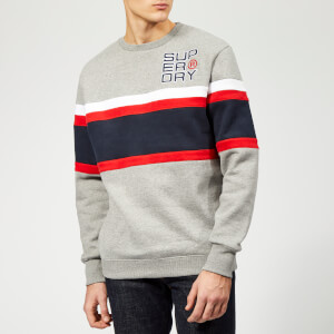 Superdry Men's Applique Weekend Cut & Sew Crew Sweatshirt - Varsity Silver Grit