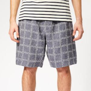 JW Anderson Men's Logo Grid Linen Shorts - Navy