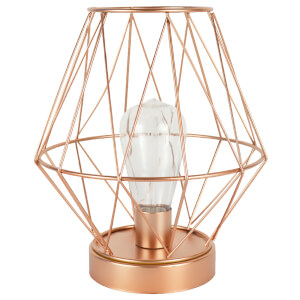 Geometric Lantern with LED Bulb - Rose Gold (24.5cm)