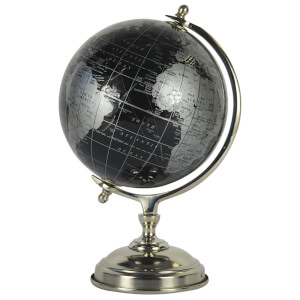 Black and Silver Globe (14 Inch)