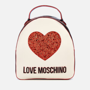 Love Moschino Women's Sequin Heart Backpack - White