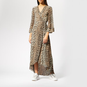 Ganni Women's Mullin Georgette Wrap Dress - Leopard