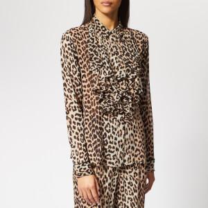 Ganni Women's Mullin Georgette Blouse - Leopard