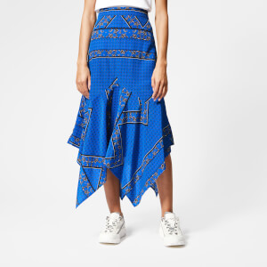 Ganni Women's Cloverdale Silk Skirt - Lapis Blue
