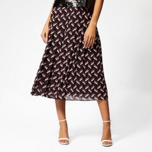 MICHAEL MICHAEL KORS Women's Chevron Pleat Skirt - Cordovan