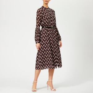 MICHAEL MICHAEL KORS Women's Midi Dress with Belt - Cordovan
