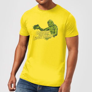 Universal Monsters Creature From The Black Lagoon Retro Crest T-shirt - Geel