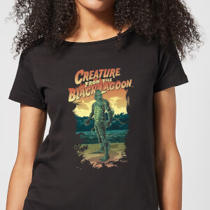 Universal Monsters Creature From The Black Lagoon Illustrated Women's T-Shirt - Black