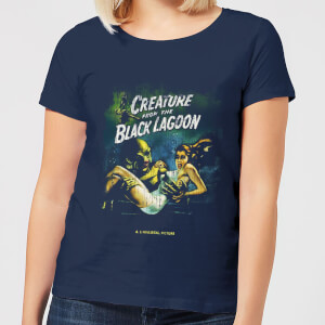 Universal Monsters Creature From The Black Lagoon Vintage Poster Dames T-shirt - Navy