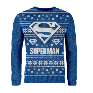 Pull de Noël Superman DC Comics- Exclusivité© Zavvi - Bleu
