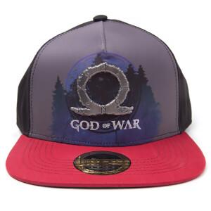 God of War Printed Metal Badge Snapback Cap - Grey