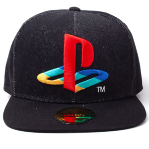 PlayStation Logo Denim Snapback Cap - Black