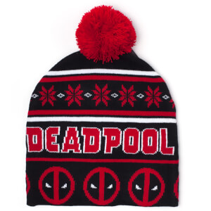 Marvel Deadpool Men's Christmas Beanie Hat - Black