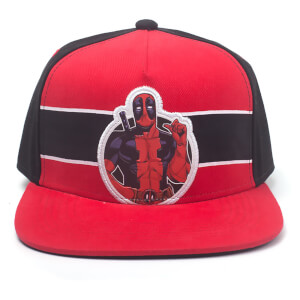 Marvel Deadpool Men's Stripe Comic Badge Snapback - Red