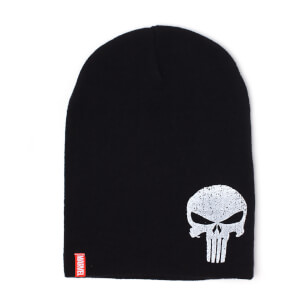 Marvel Punisher Men's Logo Slouchy Beanie Hat - Black