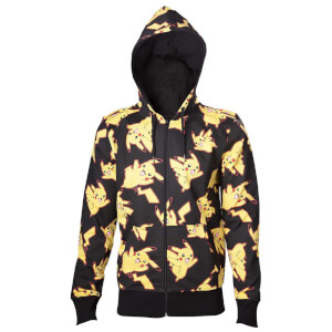 Pokémon Men's Pikachu All Over Print Zip Through Hoody - Black