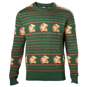 Nintendo The Legend of Zelda Fairisle Christmas Knitted Jumper - Green