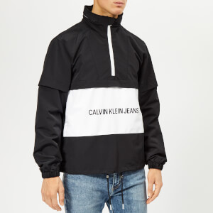 Calvin Klein Jeans Men's Institutional Logo Pop Over Jacket - Black/White