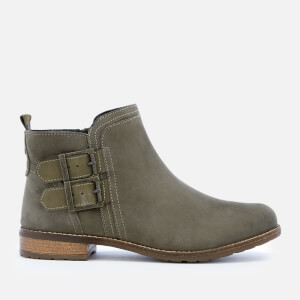 Barbour Women's Sarah Leather Buckle Flat Ankle Boots - Olive