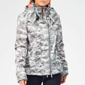 Superdry Women's Arctic Hoodie Camo SD Windcheater - Grey/Fluro Pink
