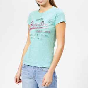 Superdry Women's Shirt Shop Infill Emboss Entry T-Shirt - Mint Rugged