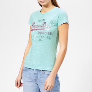 a0b99dc2 Superdry Women's Shirt Shop Infill Emboss Entry T-Shirt - Mint Rugged