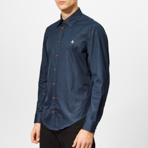 Vivienne Westwood Men's Firm Poplin Classic Extra Slim Long Sleeve Shirt - Navy