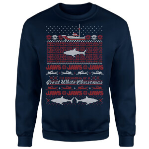 Jaws Great White Christmas Sweatshirt - Navy