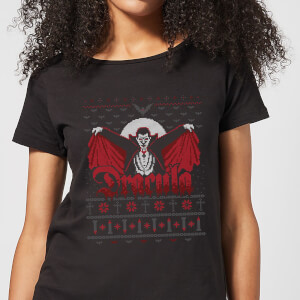 Universal Monsters Dracula Dames Kerst T-Shirt - Zwart