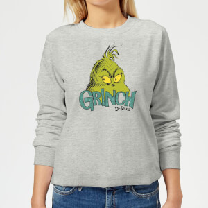The Grinch Face Women's Christmas Sweatshirt - Grey