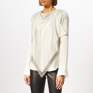 Alexander Wang Women's Blouse with Ball Chain Fringe Scarf - Ivory