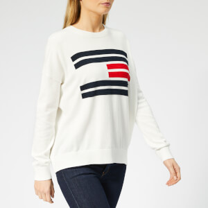Tommy Hilfiger Women's Essential Flag Crewneck Sweater - Snow White