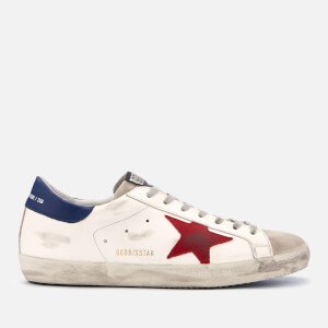 Golden Goose Deluxe Brand Men's Superstar Leather Trainers - White/Red Star